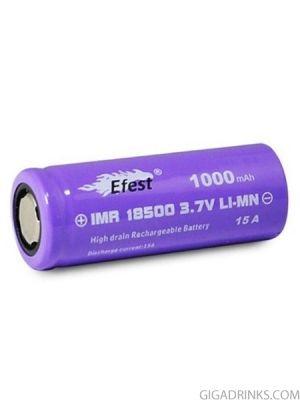 Батерия 18500 Efest IMR 1000mAh 15A 3.7V Purple